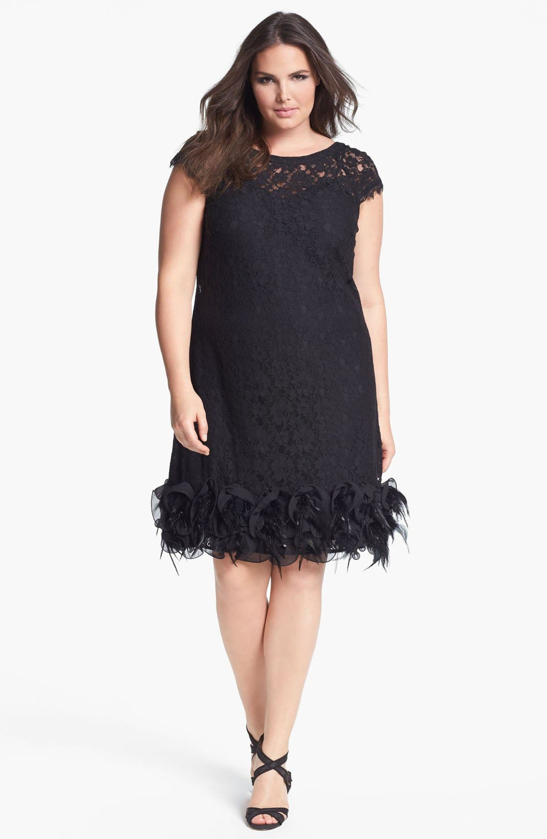 Alternate Image 1 Selected - Jessica Simpson Feather Trim Lace Dress (Plus Size)