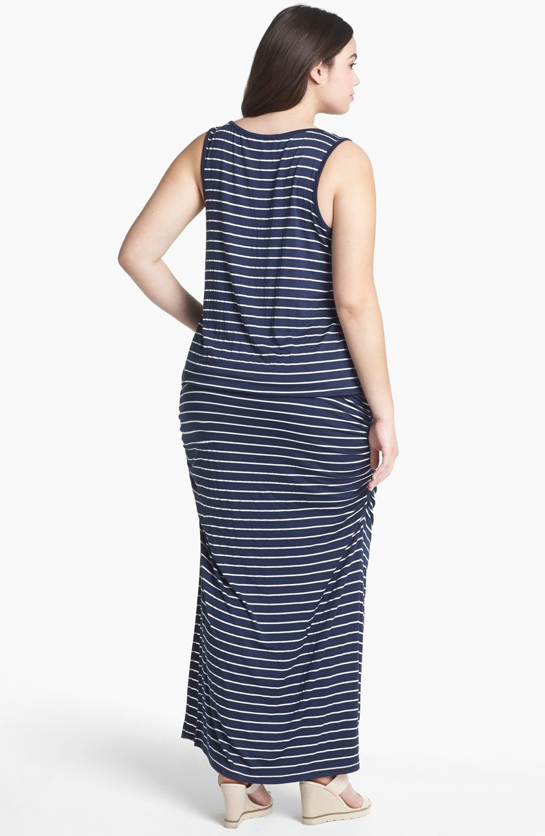 Alternate Image 2  - Olivia Moon Stripe Tank Maxi Dress (Plus Size)