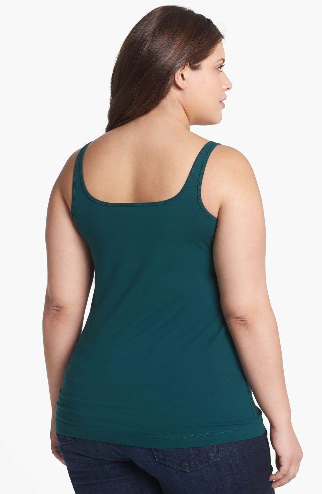 Alternate Image 2  - Sejour Stretch Cotton Tank (Plus Size)