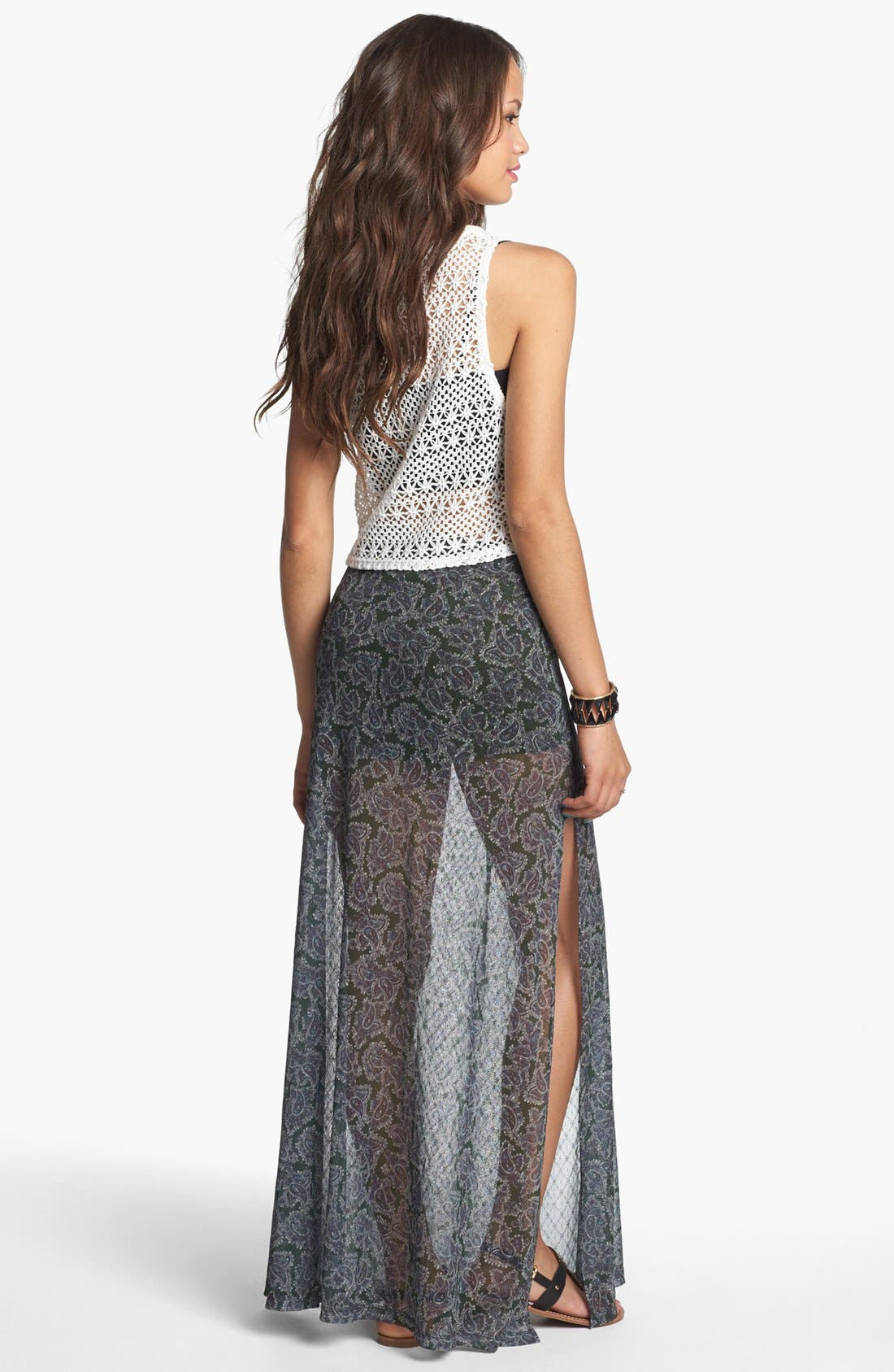 Alternate Image 2  - Mimi Chica Print Sheer Maxi Skirt (Juniors)