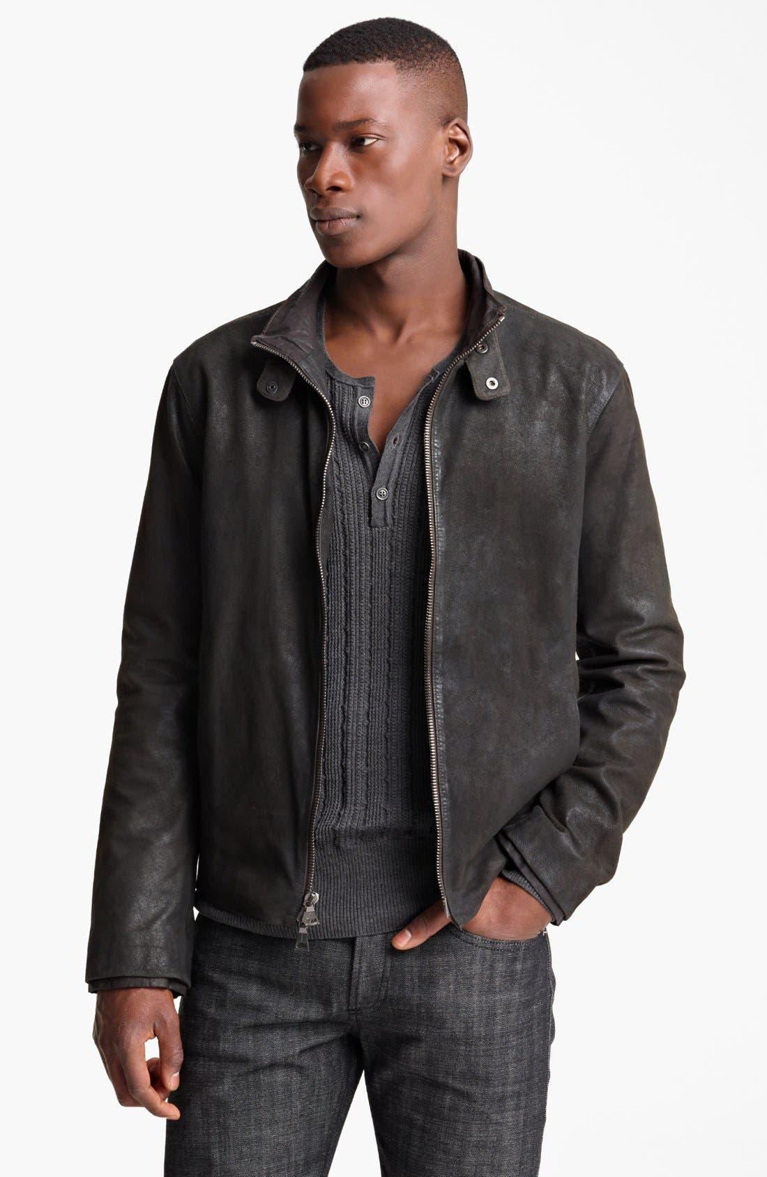 Main Image - John Varvatos Collection Suede Moto Jacket