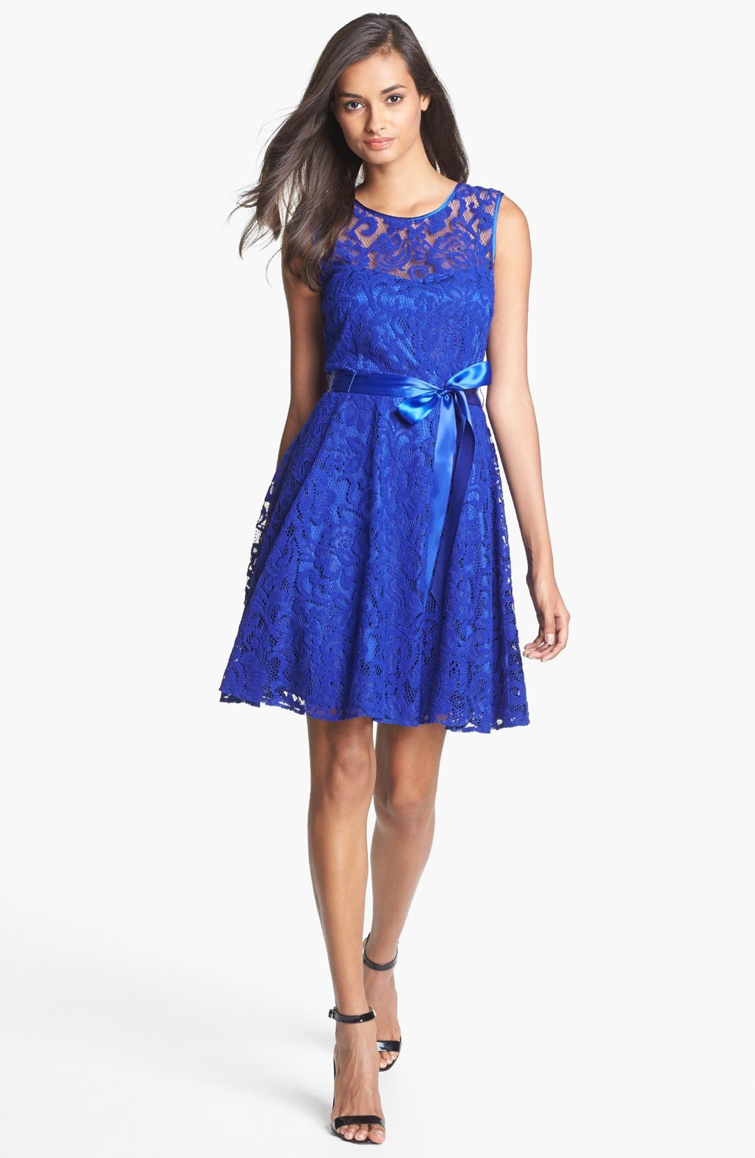 Main Image - Betsy & Adam V-Back Lace Overlay Fit & Flare Dress