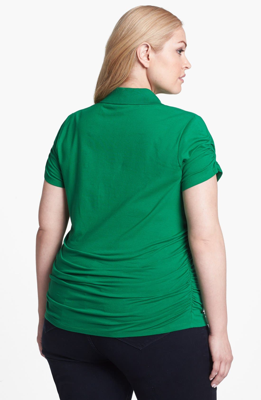 Alternate Image 2  - MICHAEL Michael Kors Ruched Short Sleeve Polo (Plus Size)