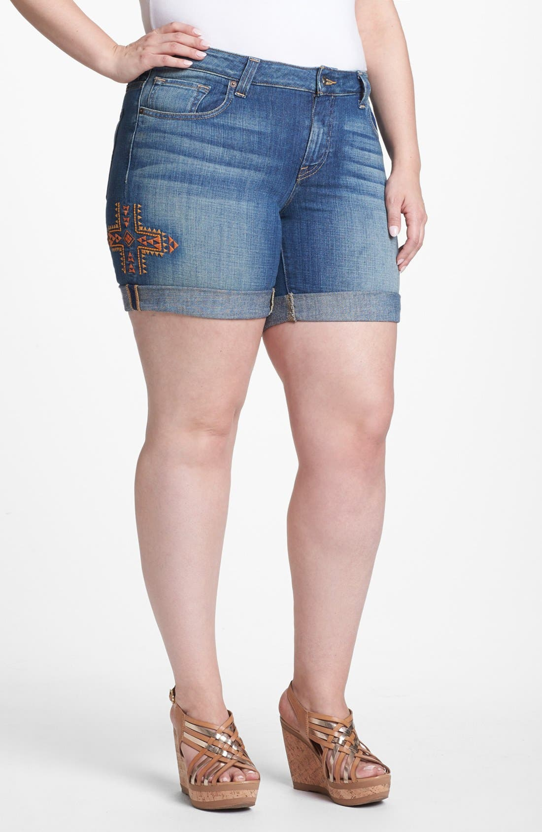 Main Image - Lucky Brand 'Ginger' Embroidered Jean Shorts (Plus Size)