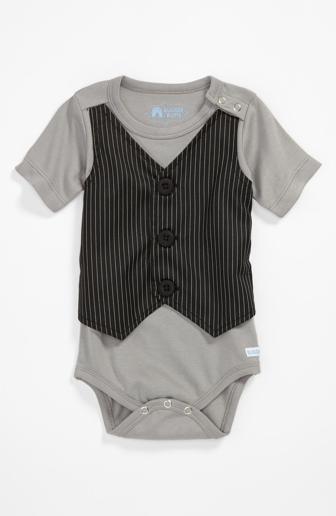 Alternate Image 1 Selected - RuggedButts 'Pinstripe' Bodysuit (Baby Boys)