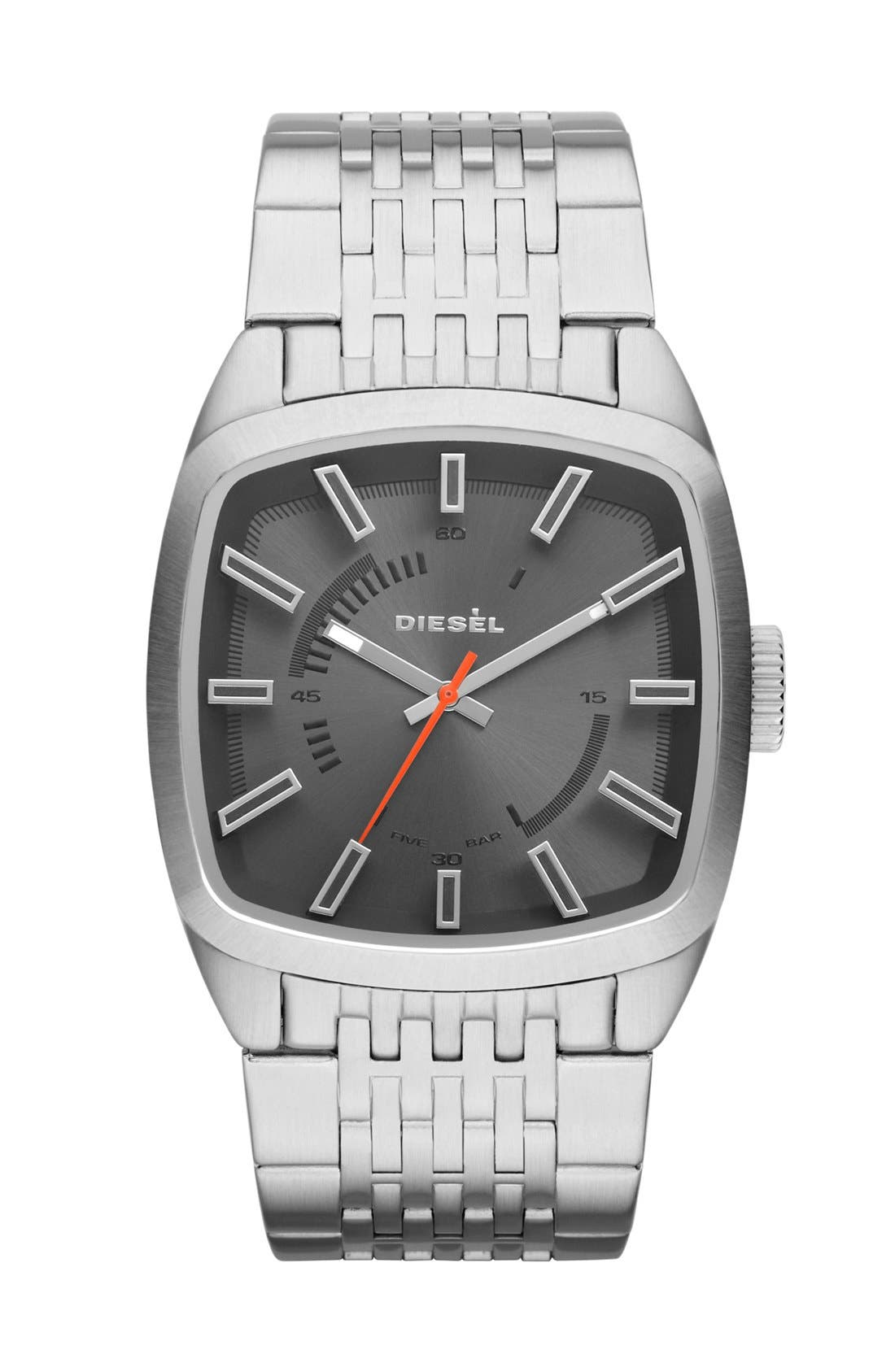 Alternate Image 1 Selected - DIESEL® 'Scalped' Square Bracelet Watch, 40mm