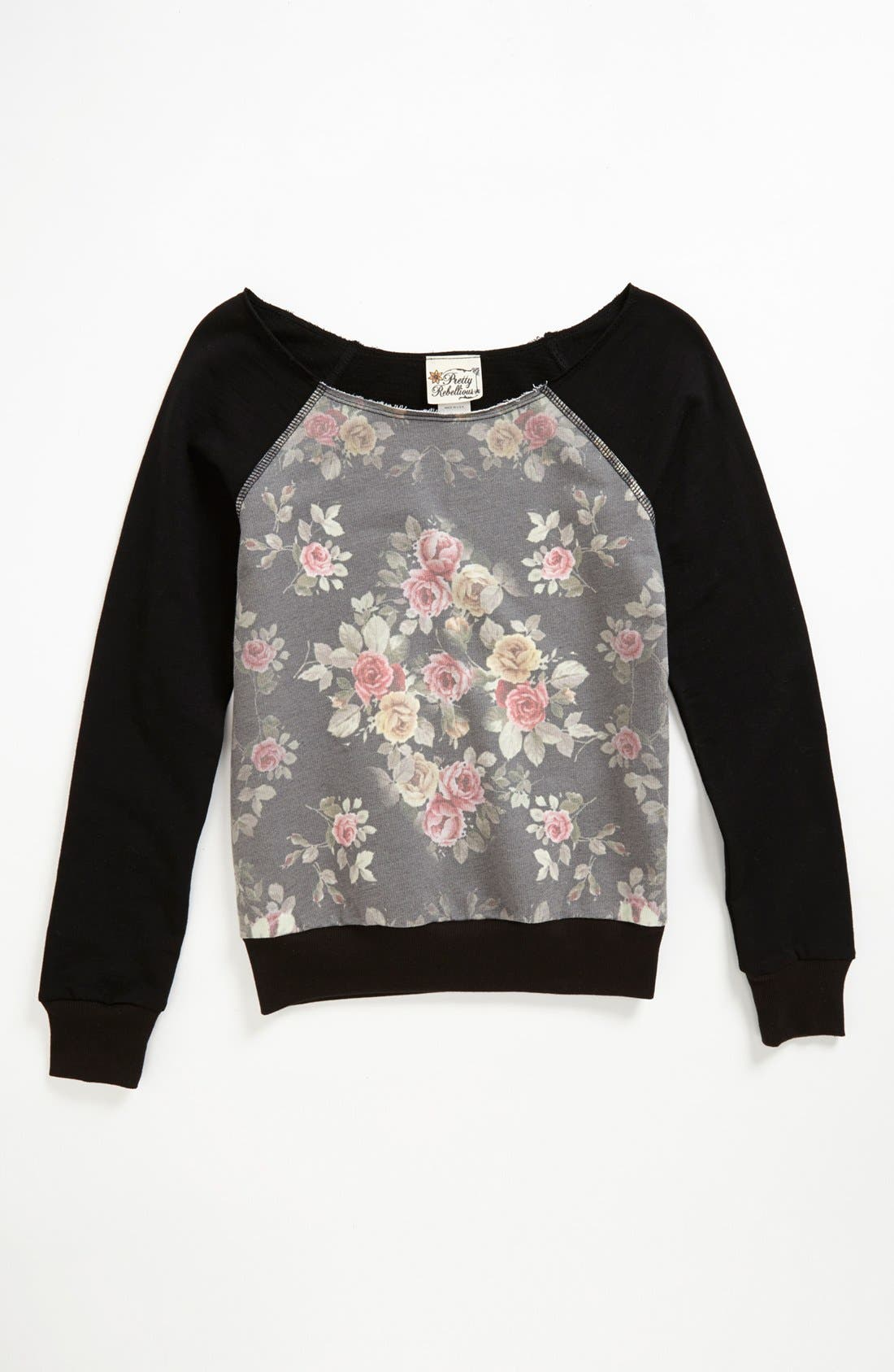 Main Image - Pretty Rebellious Floral Inset Sweatshirt (Big Girls)