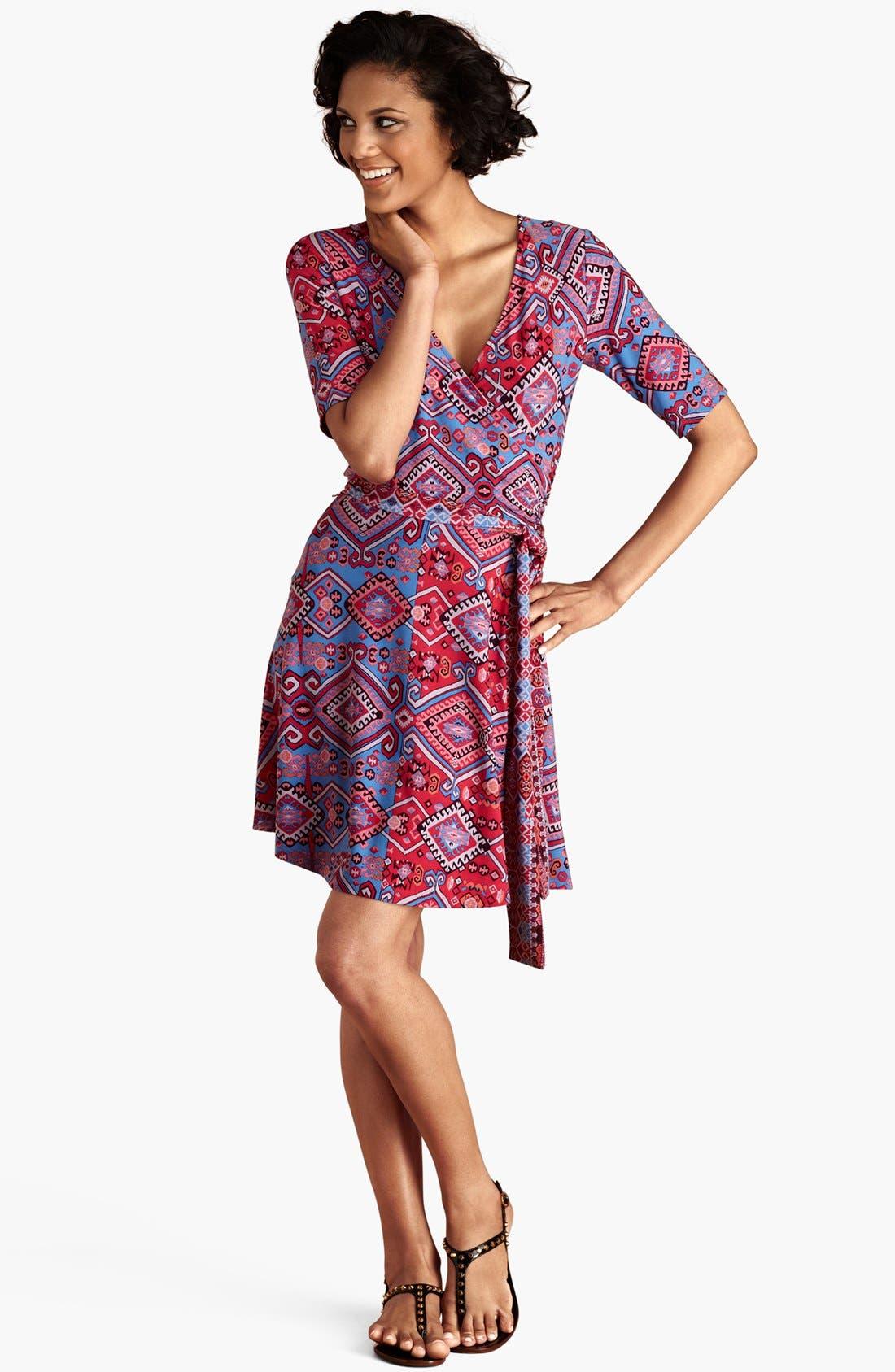 Main Image - Donna Morgan Print Matte Jersey Faux Wrap Dress (Regular & Petite)