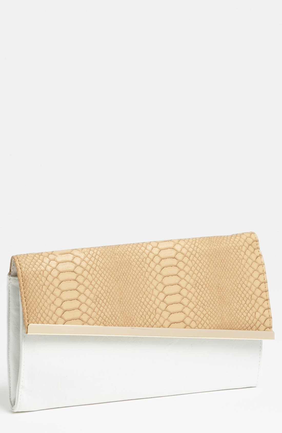 Main Image - Expressions NYC Snake Embossed Faux Leather Clutch