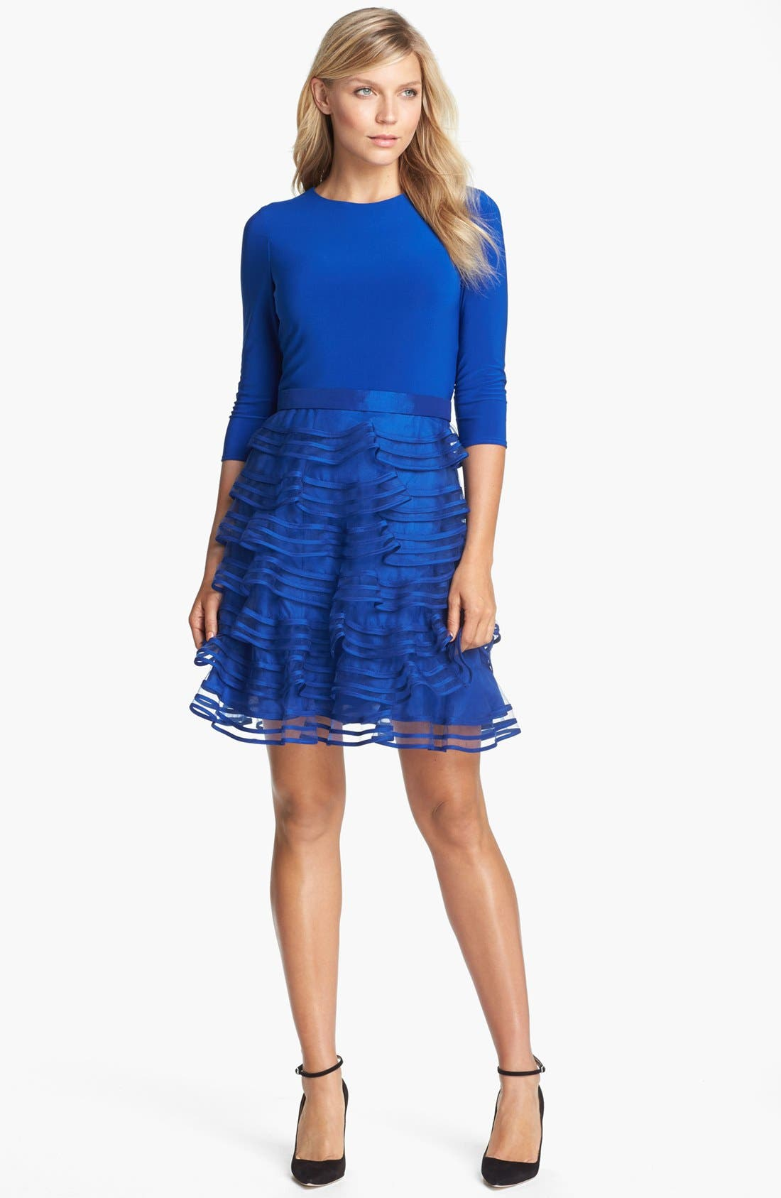 Alternate Image 1 Selected - Kathy Hilton Tiered Skirt Mixed Media Dress