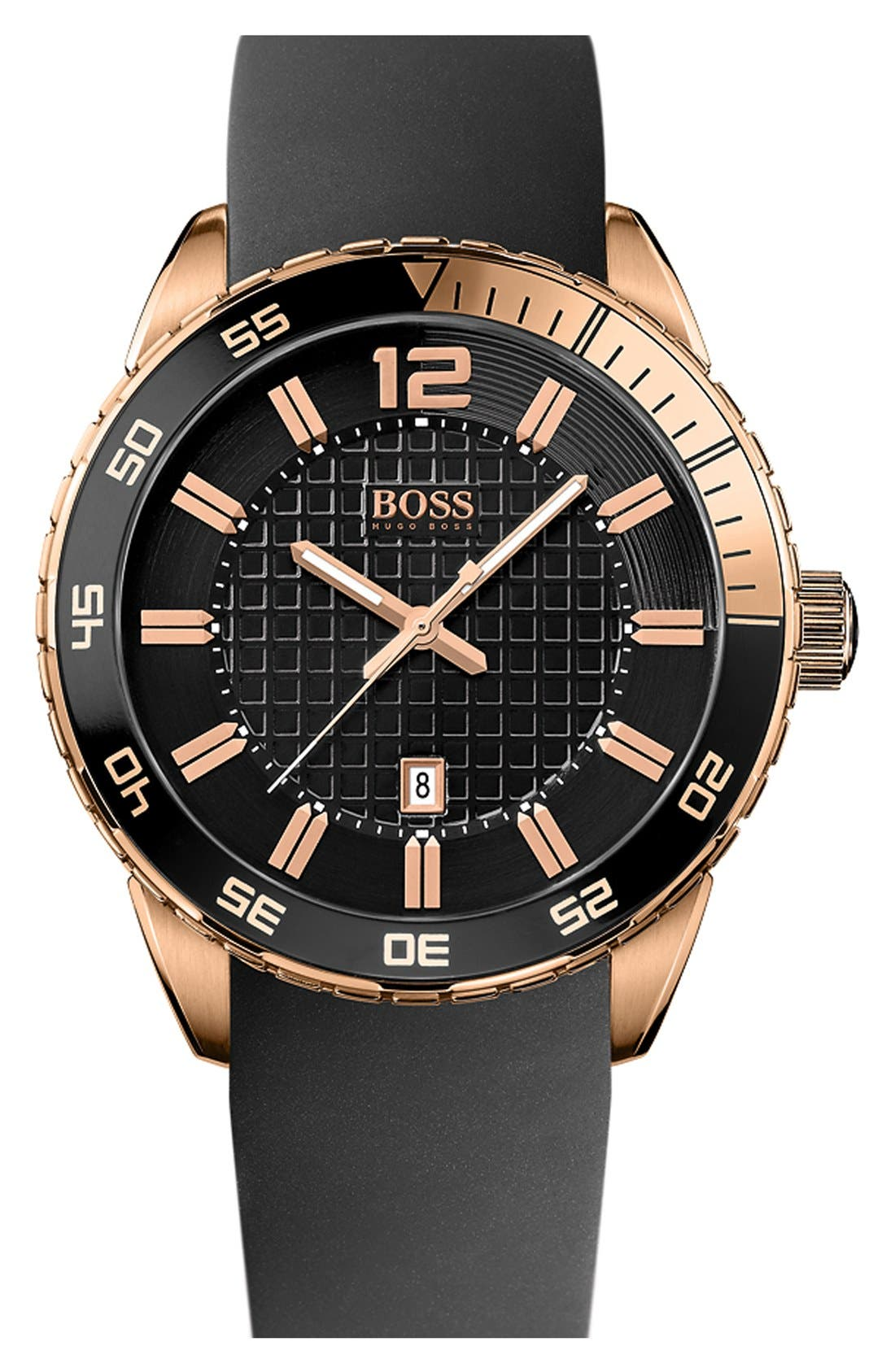 Main Image - BOSS 'Deep Blue SX' Sport Silicone Strap Watch, 46mm