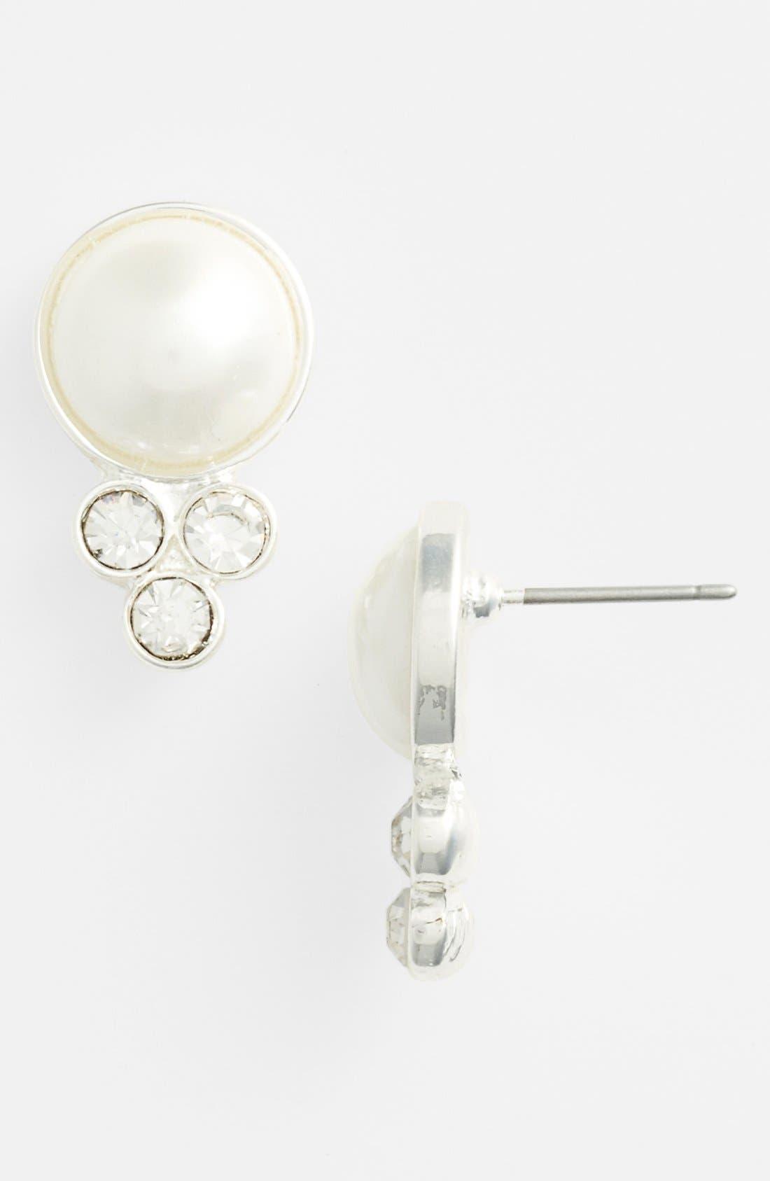 Alternate Image 1 Selected - Anne Klein Faux Pearl & Crystal Stud Earrings