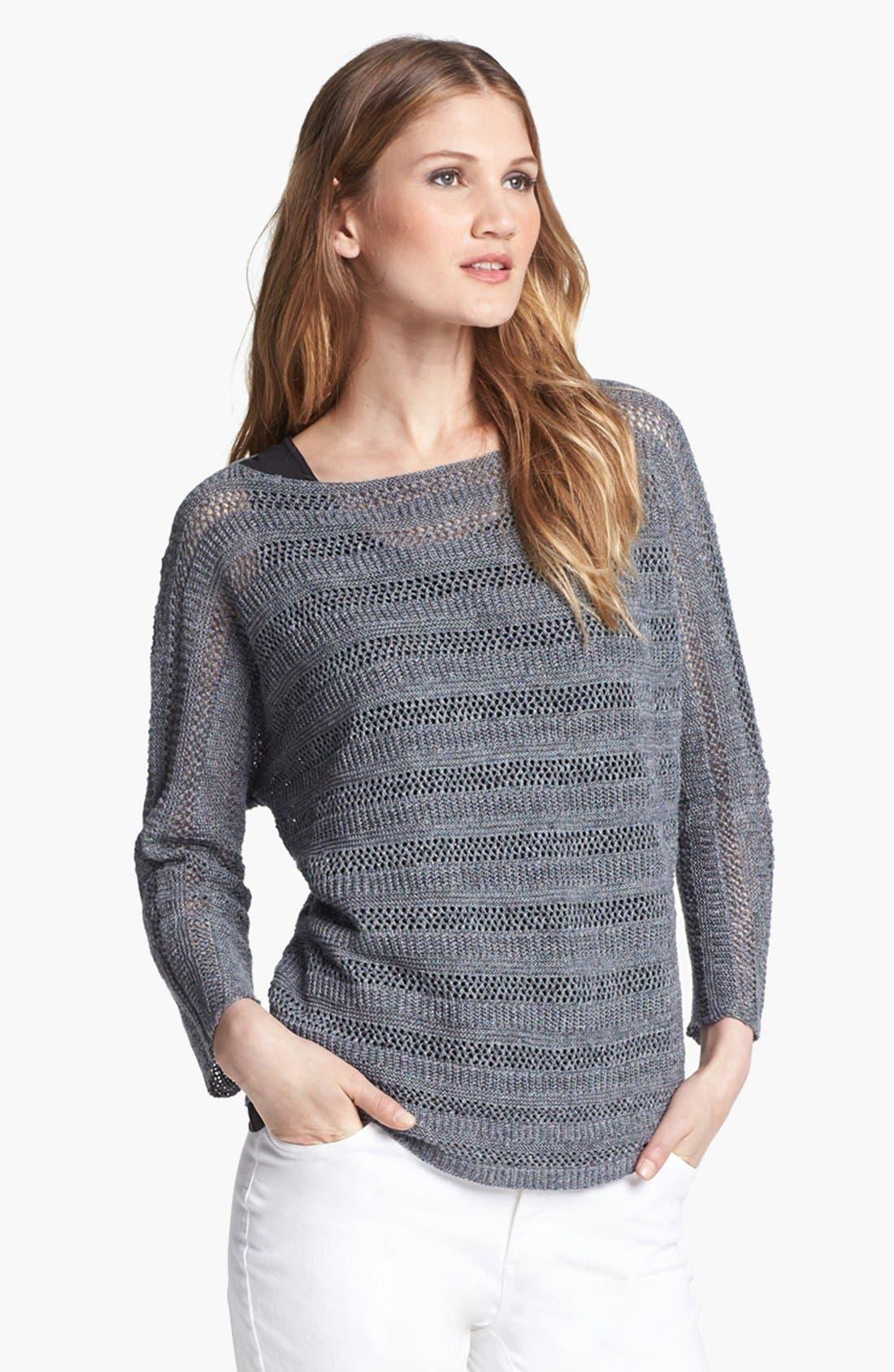 Alternate Image 1 Selected - Lafayette 148 New York Honeycomb Stripe Linen Sweater