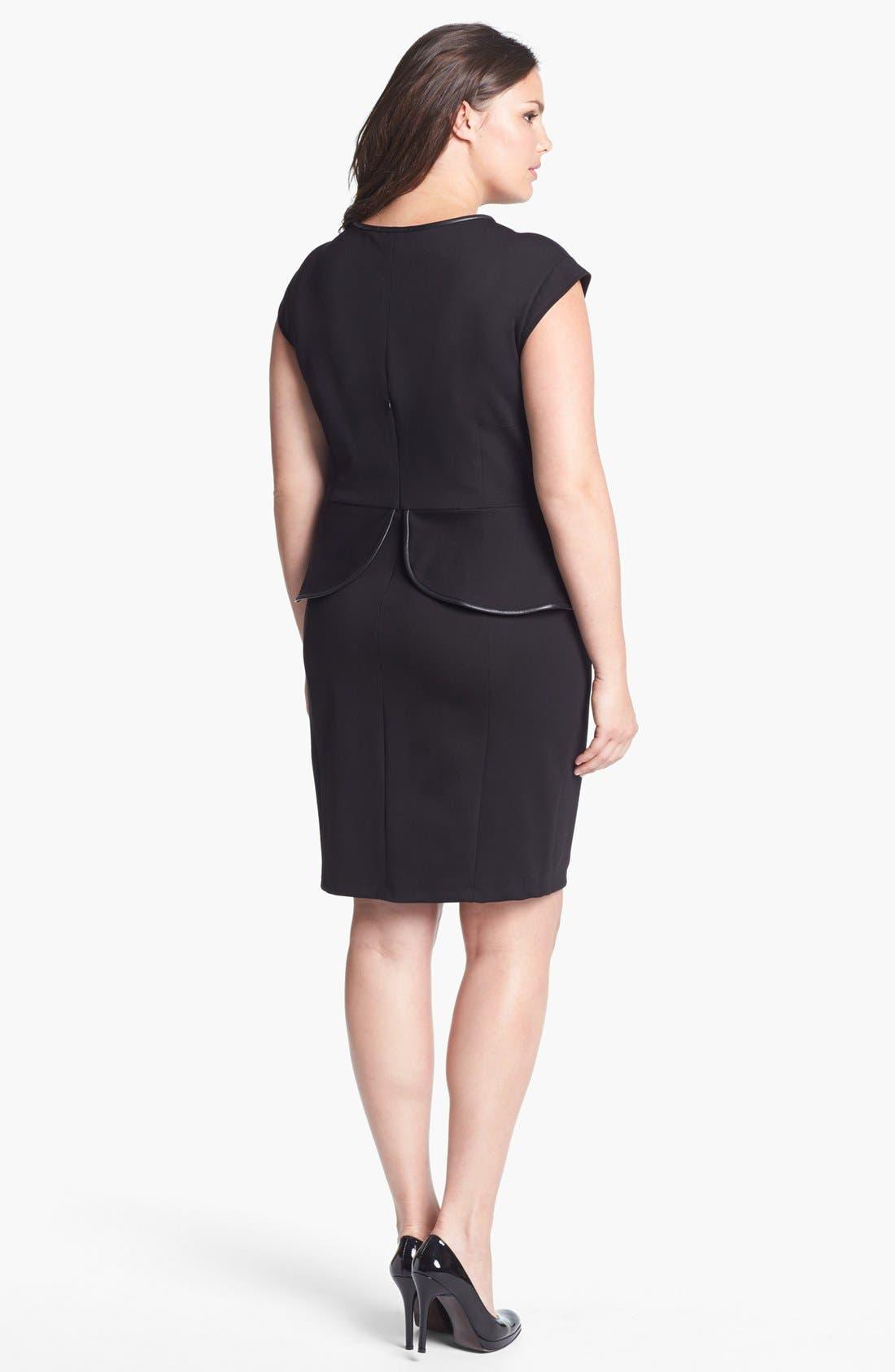 Alternate Image 2  - ABS by Allen Schwartz Leather Trim Peplum Dress (Plus Size)