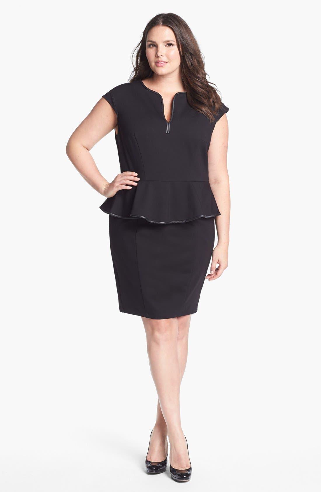 Alternate Image 1 Selected - ABS by Allen Schwartz Leather Trim Peplum Dress (Plus Size)