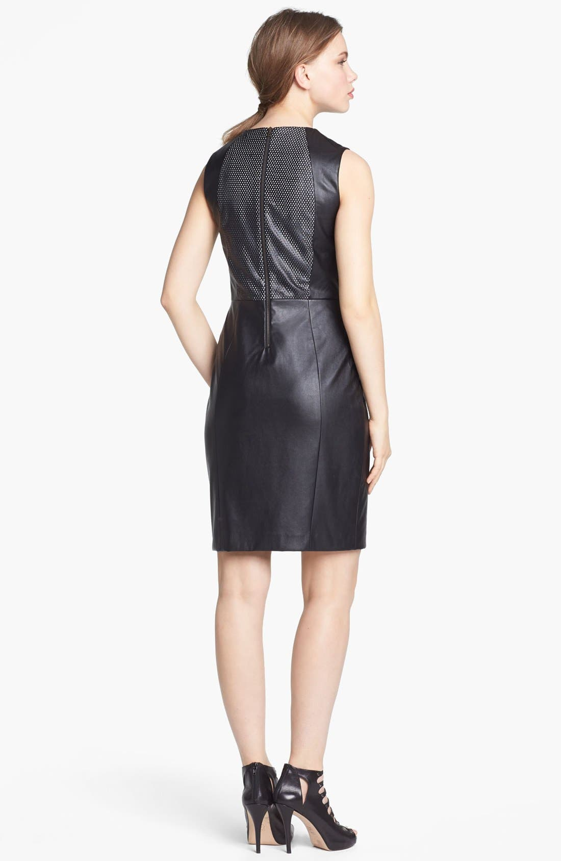 Alternate Image 2  - Vince Camuto Perforated Faux Leather Sheath Dress