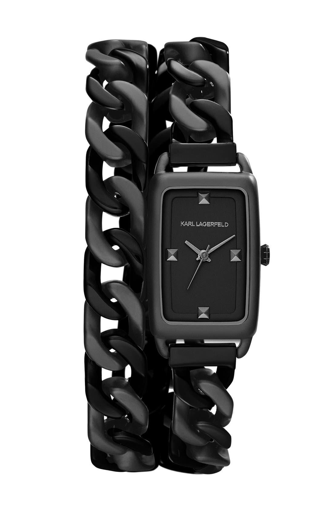 Alternate Image 1 Selected - KARL LAGERFELD 'Kourbe' Double Wrap Bracelet Watch, 20mm x 30mm