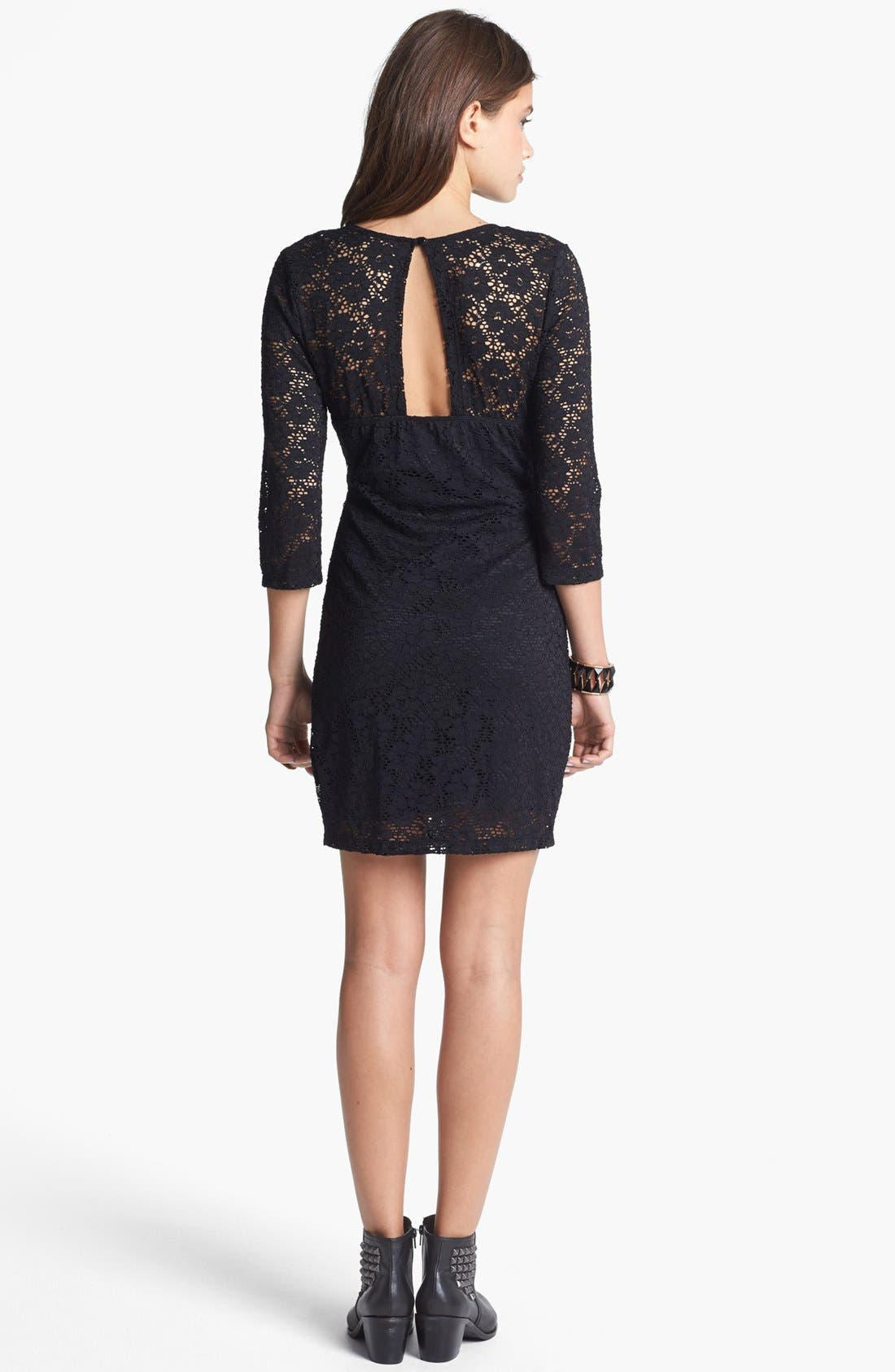Alternate Image 2  - Trixxi Cutout Lace Body-Con Dress (Juniors) (Online Only)