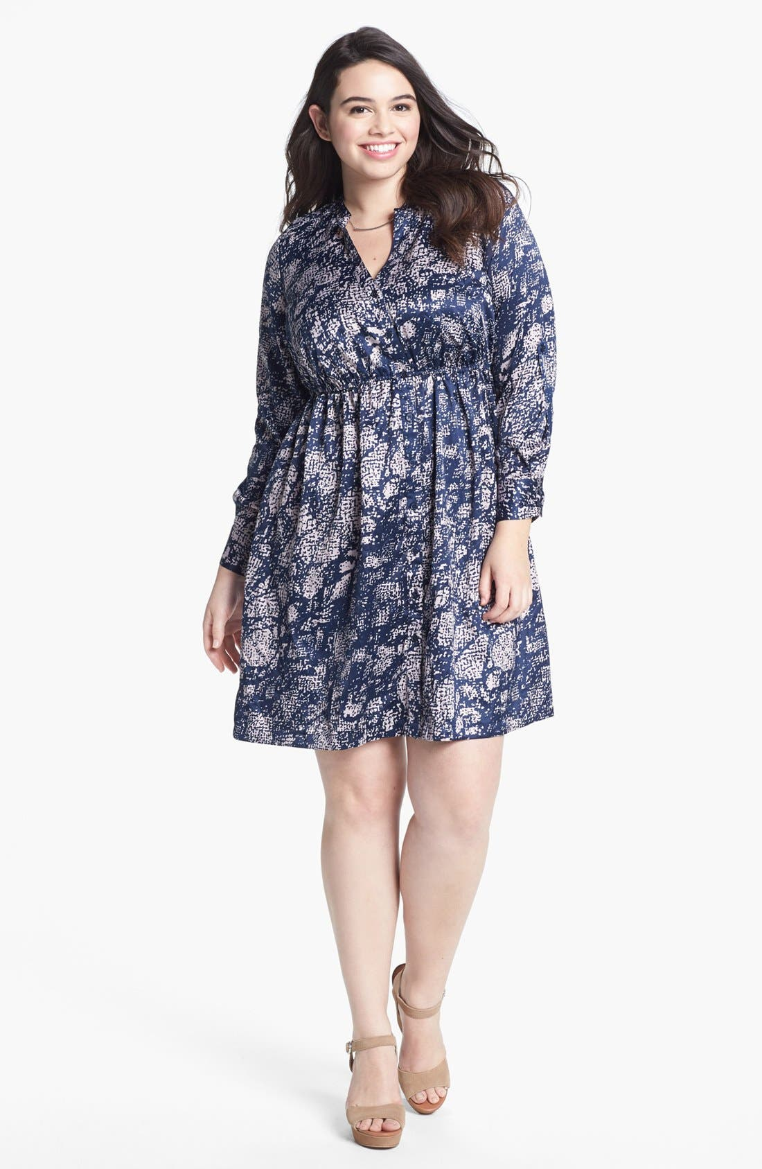 Main Image - Fire Print Long Sleeve Charmeuse Dress (Juniors Plus)