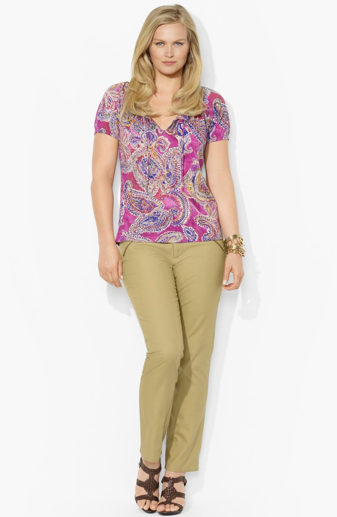 Alternate Image 3  - Lauren Ralph Lauren Paisley Cotton Top (Plus Size)