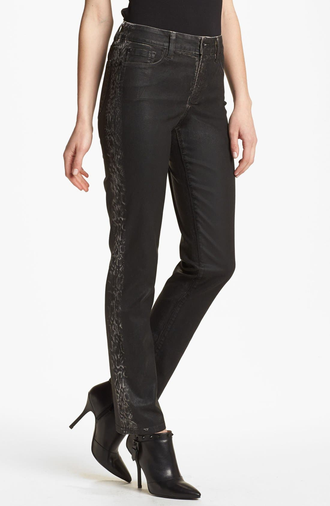 Alternate Image 1 Selected - NYDJ 'Sheri' Tuxedo Stripe Coated Skinny Jeans (Regular & Petite)