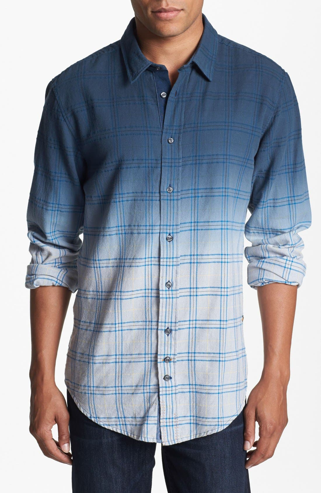 Main Image - BOSS Orange Dip Dyed Plaid Woven Shirt