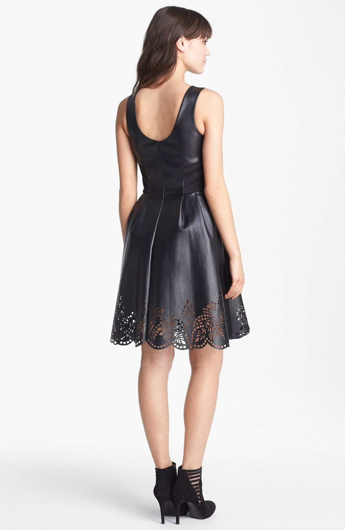 Alternate Image 2  - Betsey Johnson Laser Cut Faux Leather Fit & Flare Dress (Online Only)