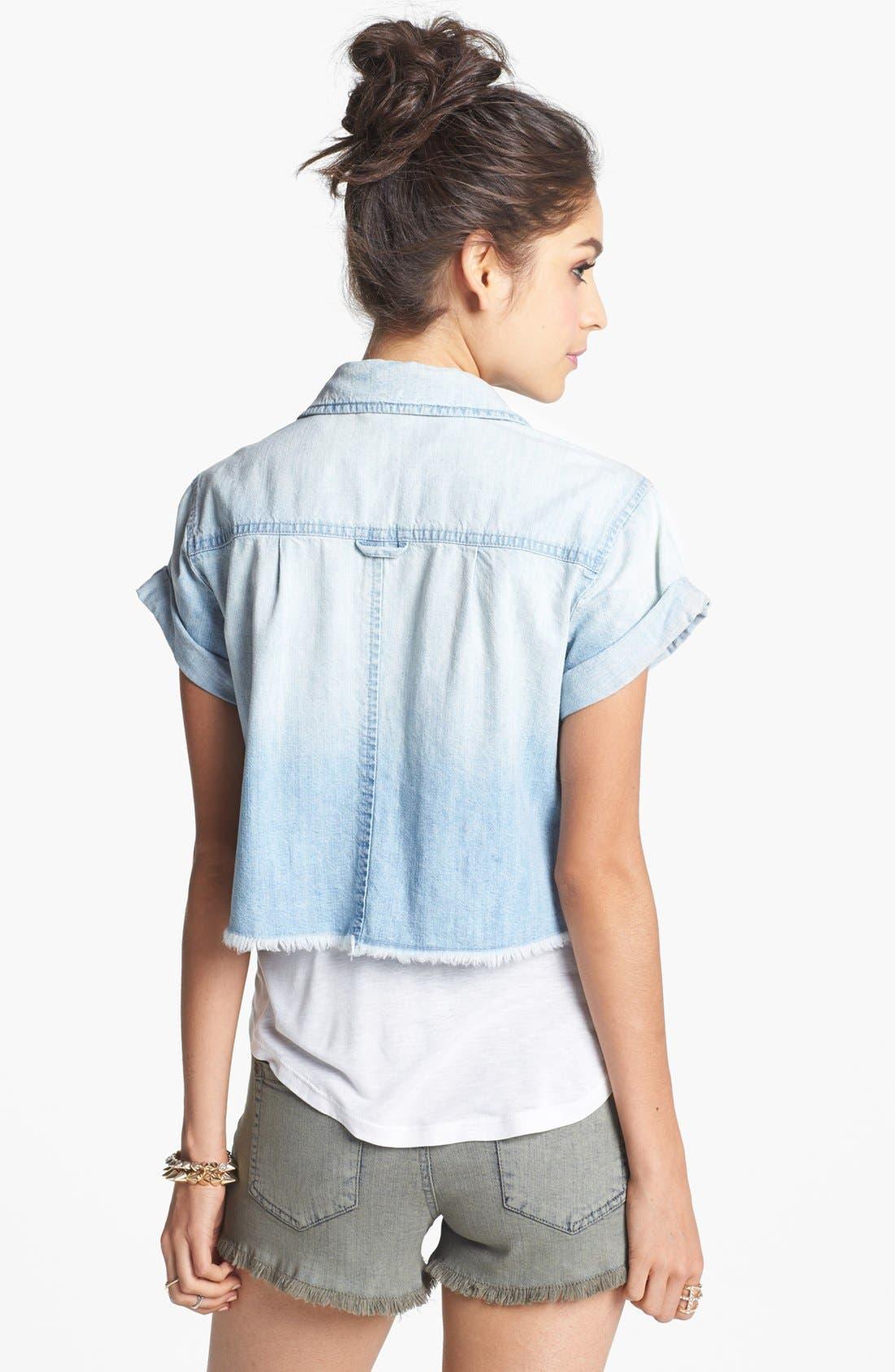 Alternate Image 2  - Rubbish® Short Sleeve Denim Shirt (Juniors)