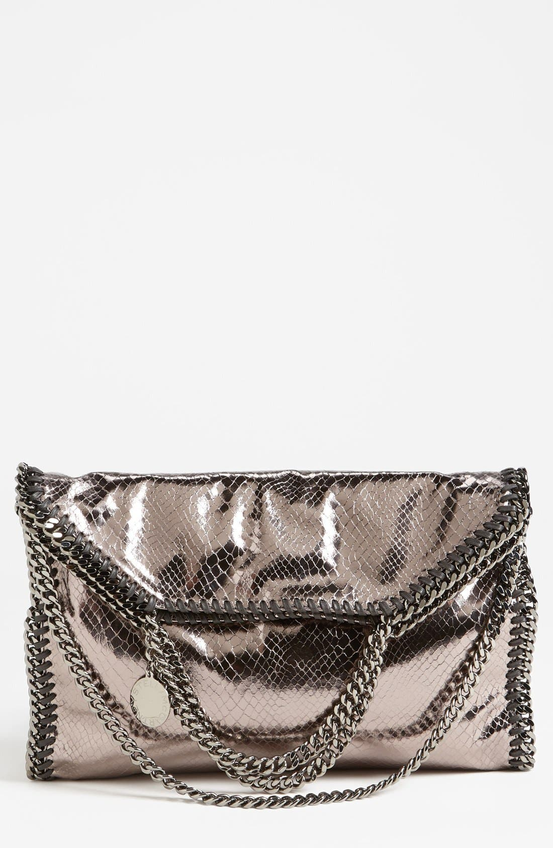Alternate Image 1 Selected - Stella McCartney 'Falabella' Metallic Snake Print Foldover Tote, Small