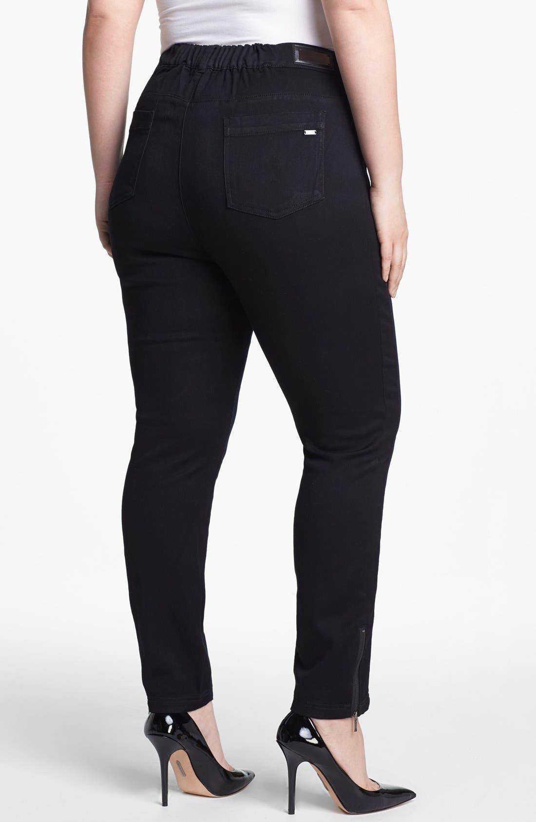 Alternate Image 2  - Evans Colorblock Skinny Jeans (Plus Size)
