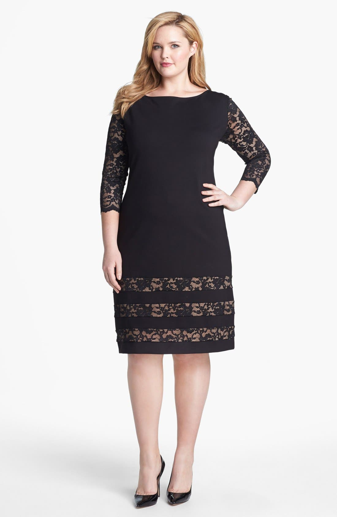 Main Image - ABS by Allen Schwartz Lace Detail Sheath Dress (Plus Size)