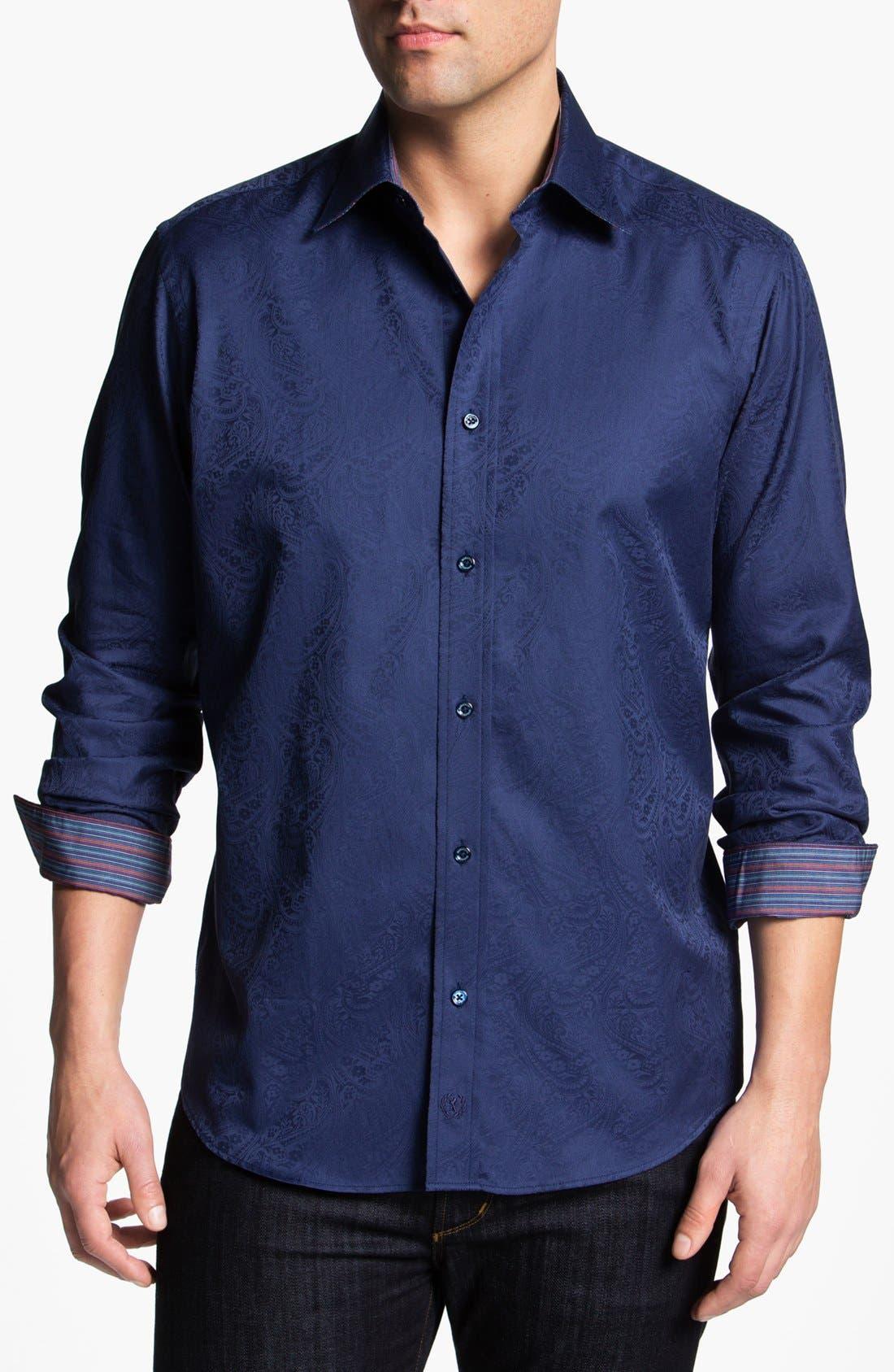 Alternate Image 1 Selected - Bugatchi Paisley Classic Fit Cotton Sport Shirt