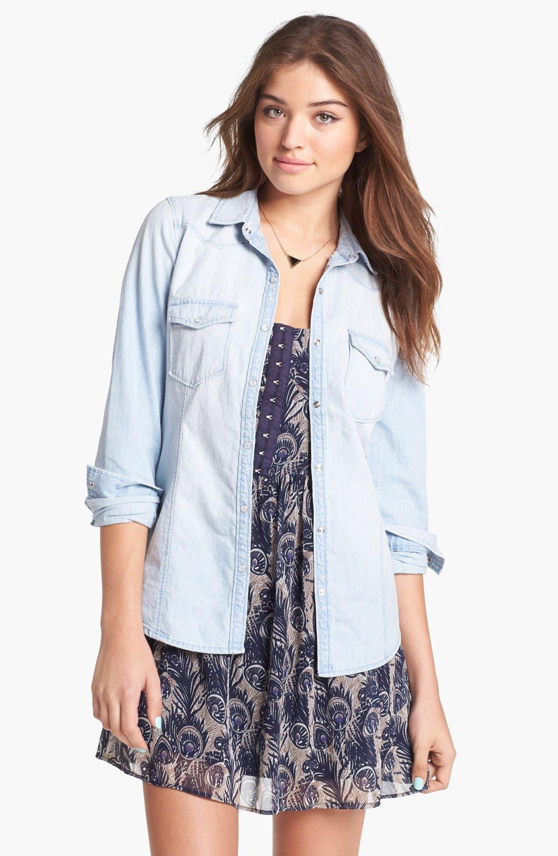Main Image - Rubbish® Chambray Western Shirt (Juniors)