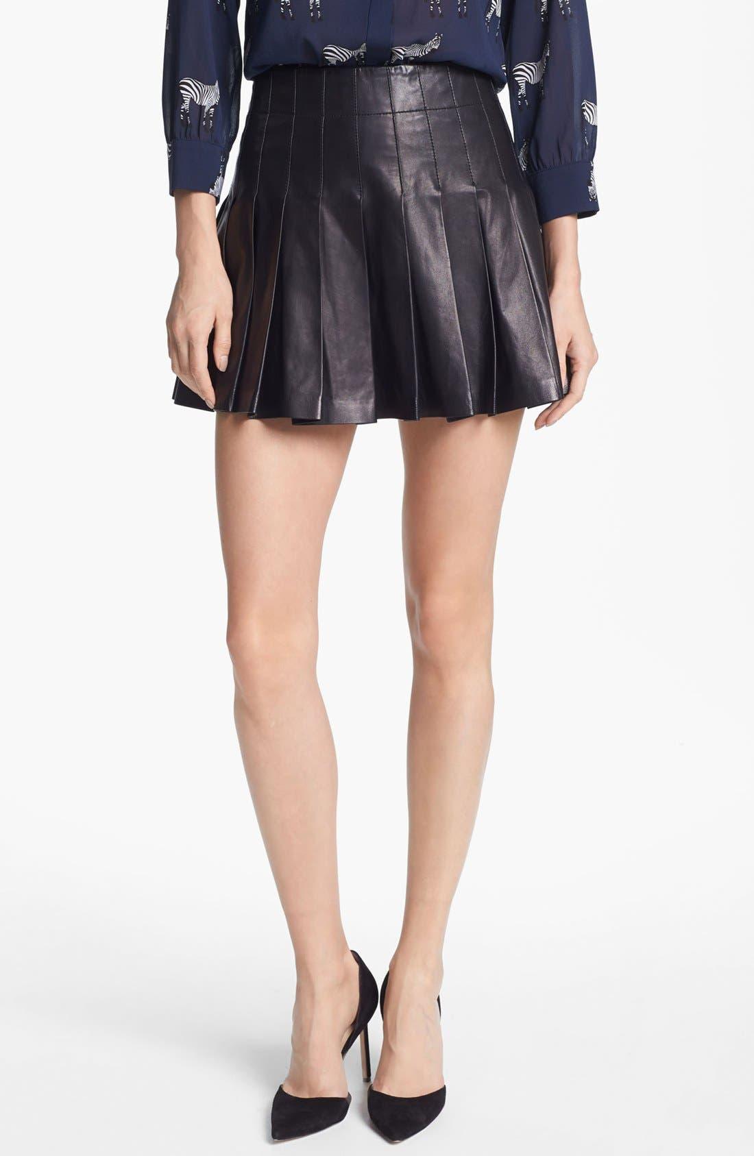 Main Image - Alice + Olivia Pleated Leather Miniskirt
