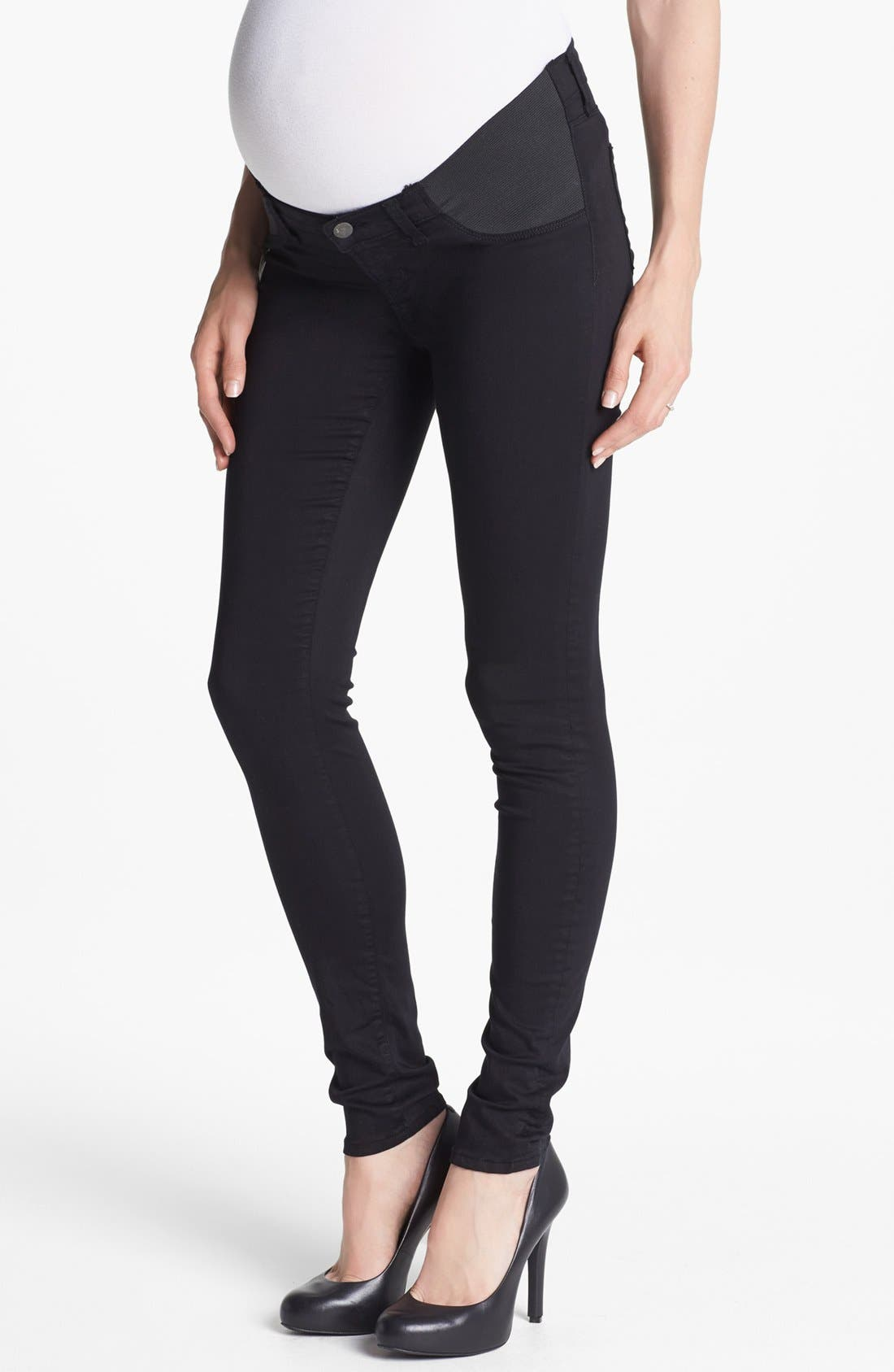 Main Image - J Brand '3402' Denim Maternity Leggings (Black)