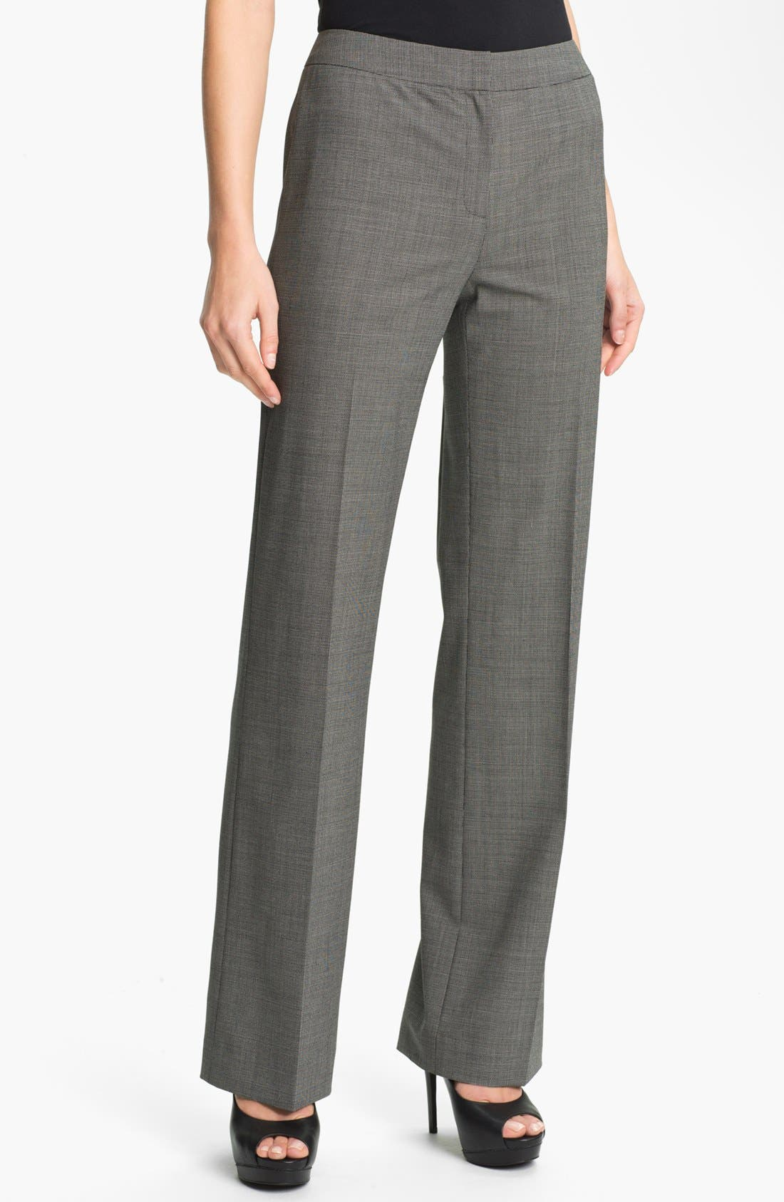Main Image - Lafayette 148 New York Crosshatch Suiting Pants (Petite)