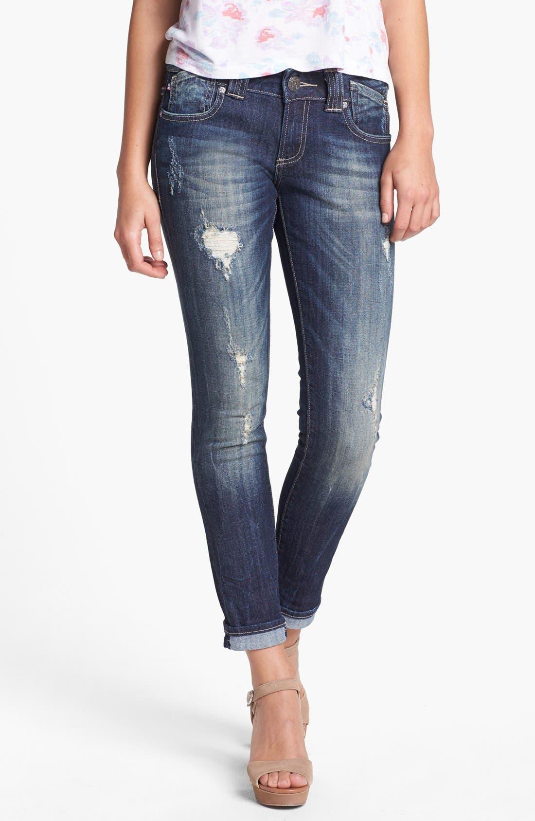 Main Image - Vigoss Distressed Jeans (Dark) (Juniors)