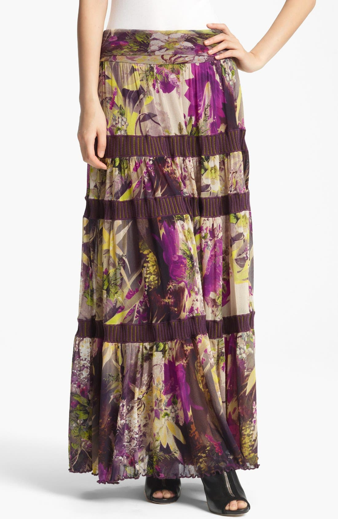 Main Image - Jean Paul Gaultier Fuzzi Floral Print Tiered Tulle Skirt
