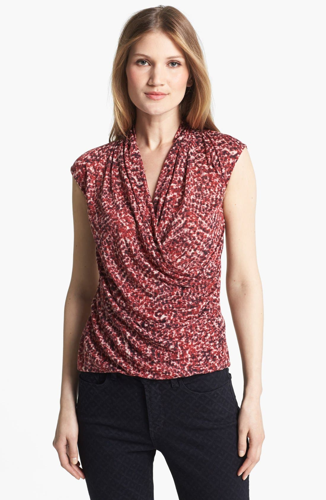 Alternate Image 1 Selected - Chaus Print Fax Wrap Top