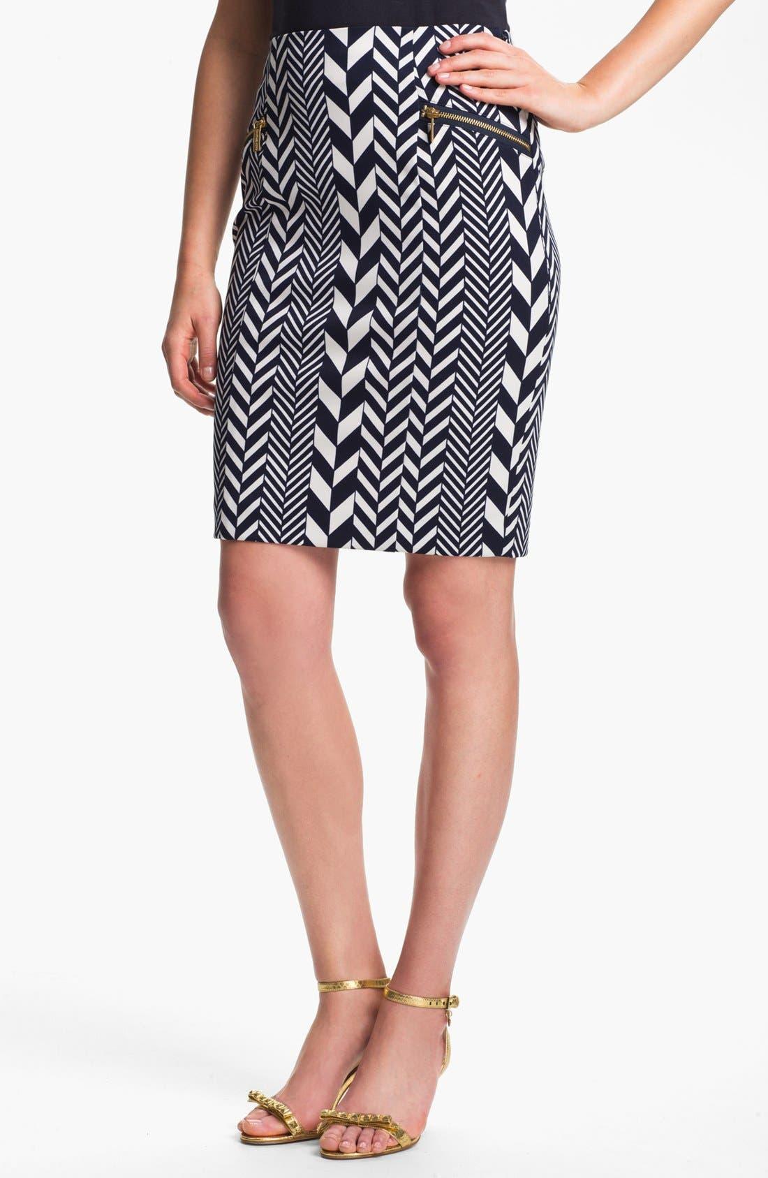 Alternate Image 1 Selected - MICHAEL Michael Kors 'League Stripe' Pencil Skirt (Regular & Petite)