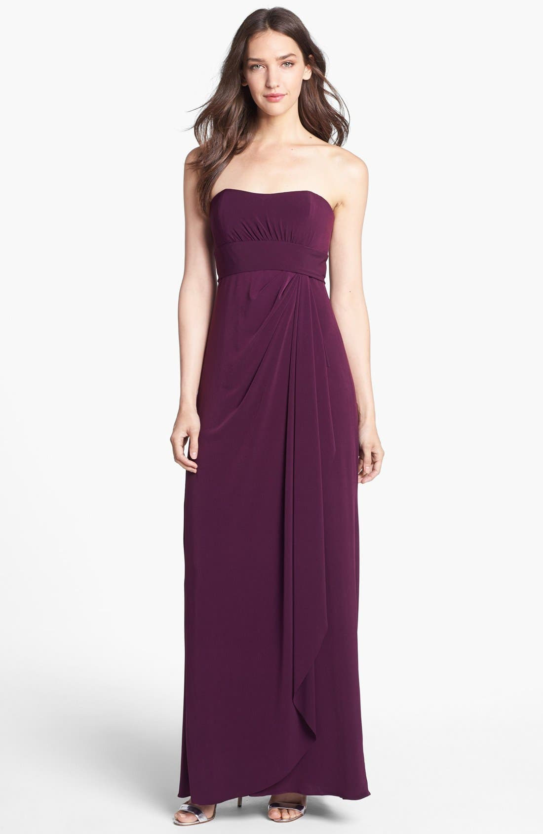 Alternate Image 1 Selected - Amsale Strapless Draped Jersey Gown