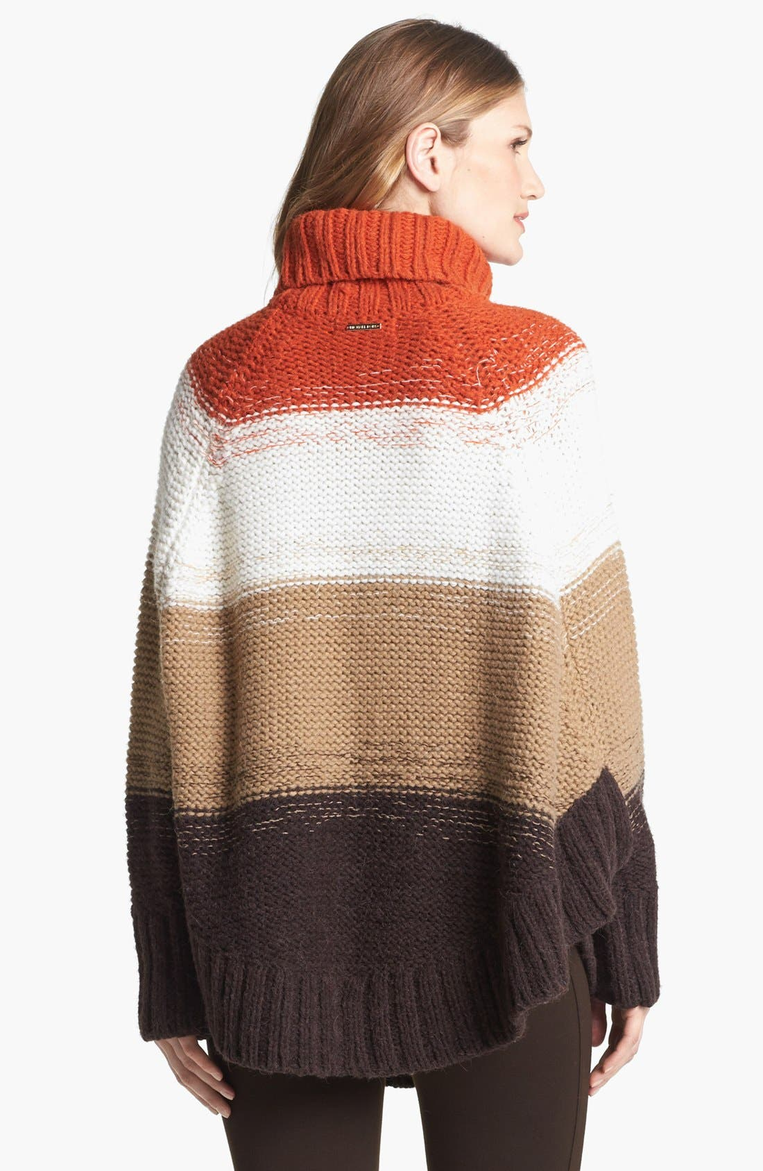 Alternate Image 3  - MICHAEL Michael Kors Stripe Turtleneck Poncho Sweater