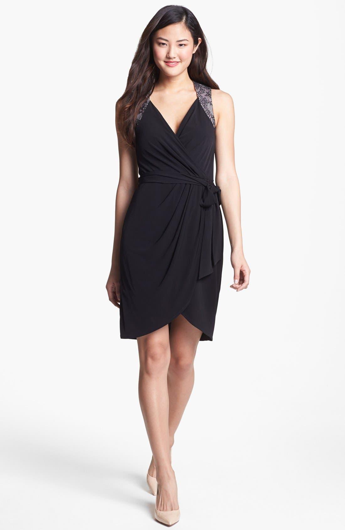 Main Image - Ivy & Blu Lace Back Faux Wrap Dress