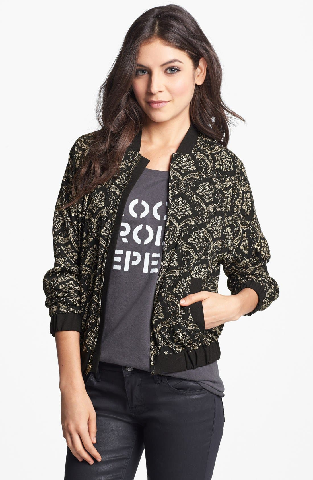 Alternate Image 1 Selected - Elodie Jacquard Bomber Jacket (Juniors)