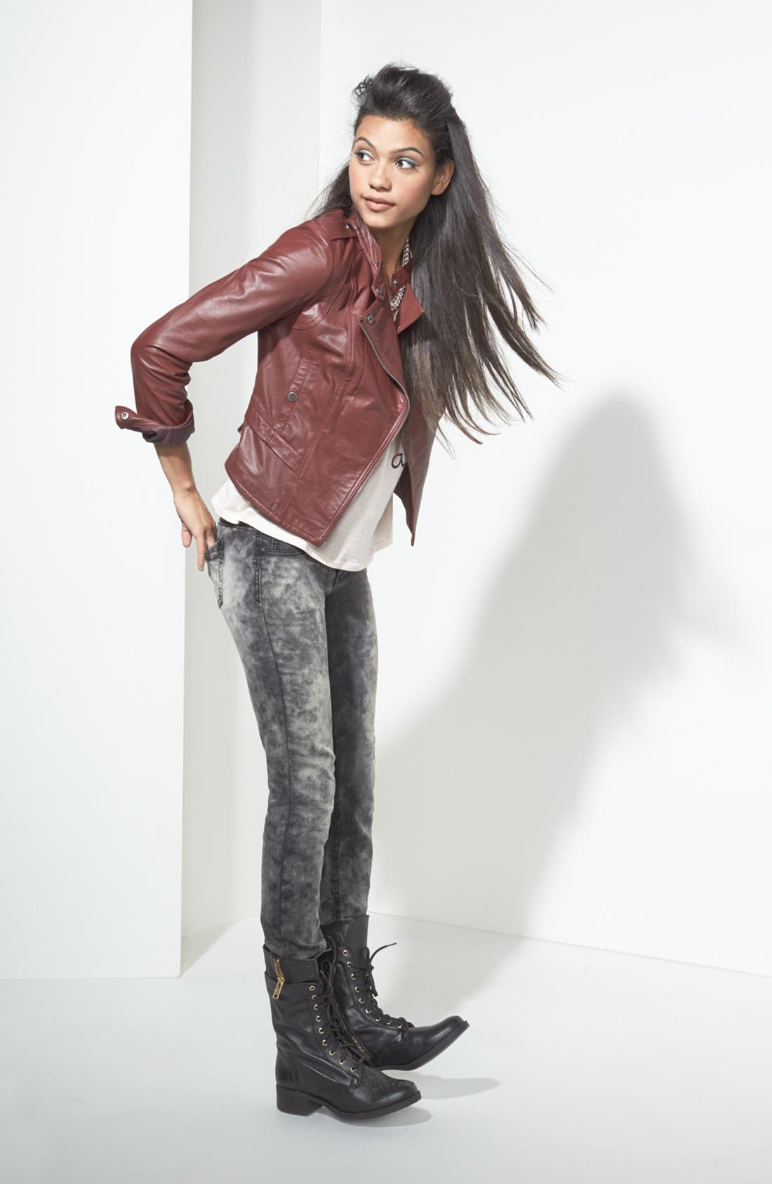 Alternate Image 1 Selected - Collection B Jacket, Ten Sixty Sherman Tee & Fire Jeans