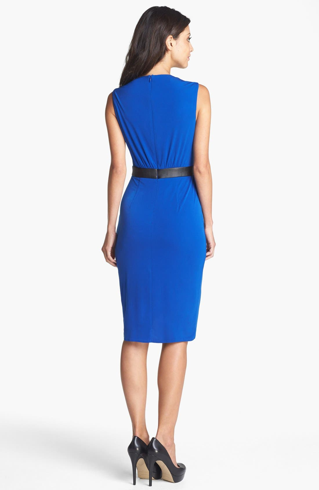 Alternate Image 2  - Ivy & Blu Faux Leather Trim Dress