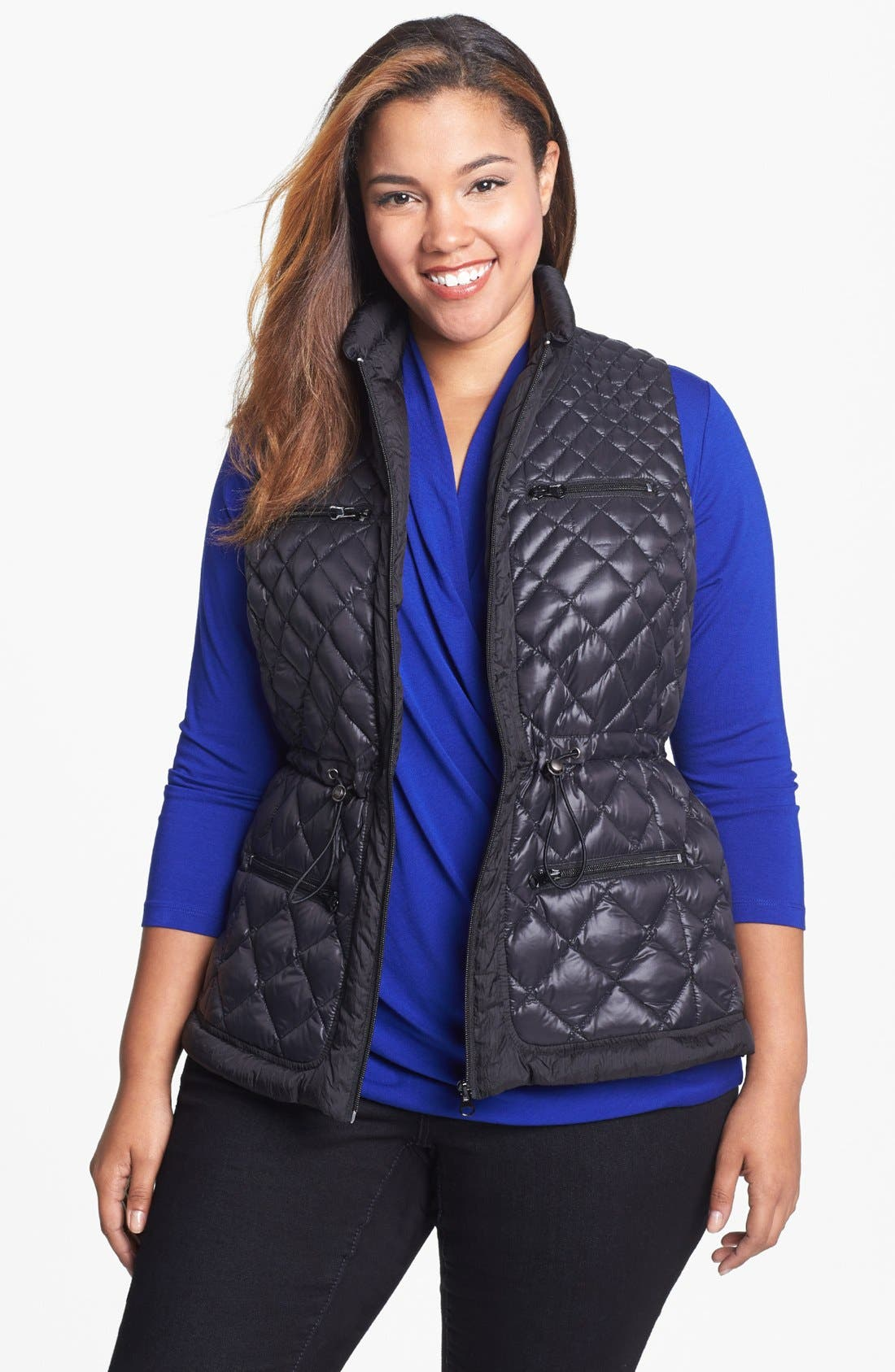 Alternate Image 1 Selected - Bernardo Packable Goose Down Anorak Vest (Plus Size)