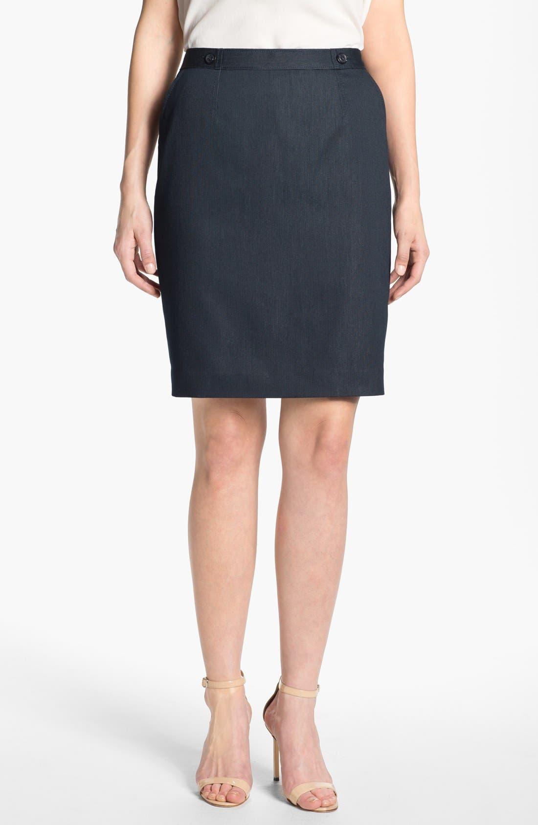 Main Image - Halogen® Pinstripe Denim Skirt (Petite)
