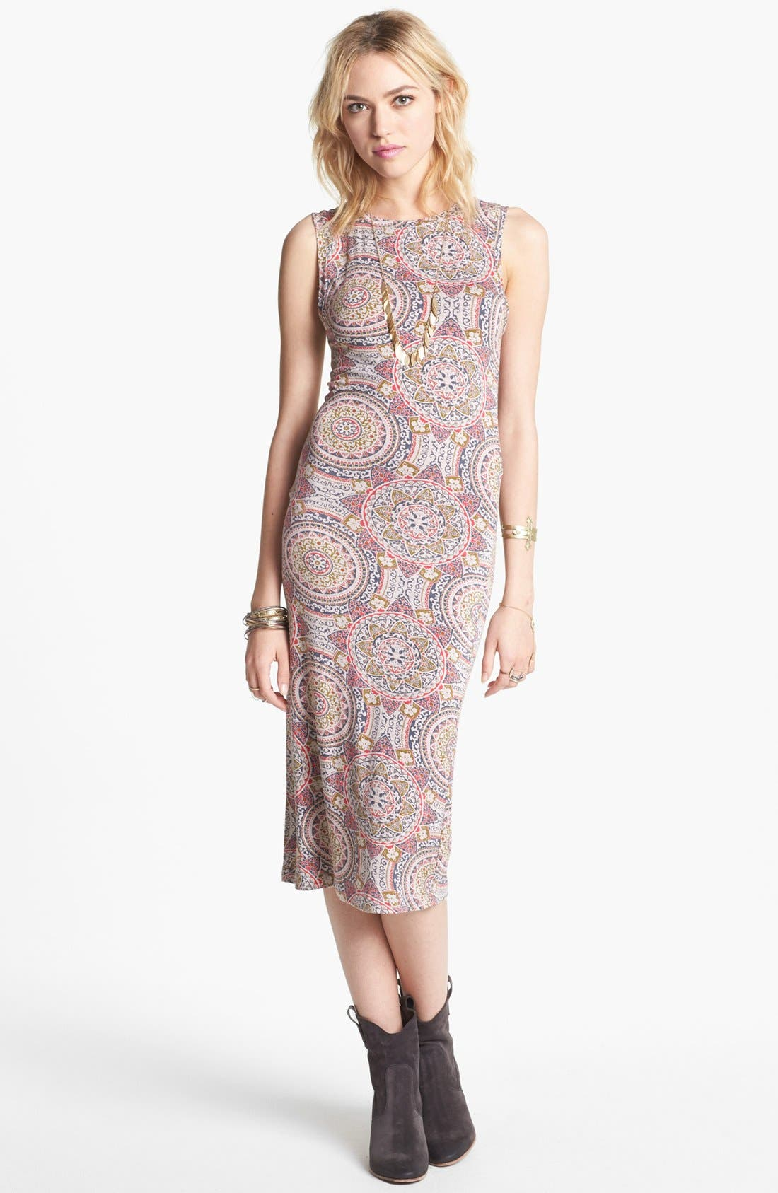 Alternate Image 1 Selected - Free People 'Love from London' Print Midi Dress