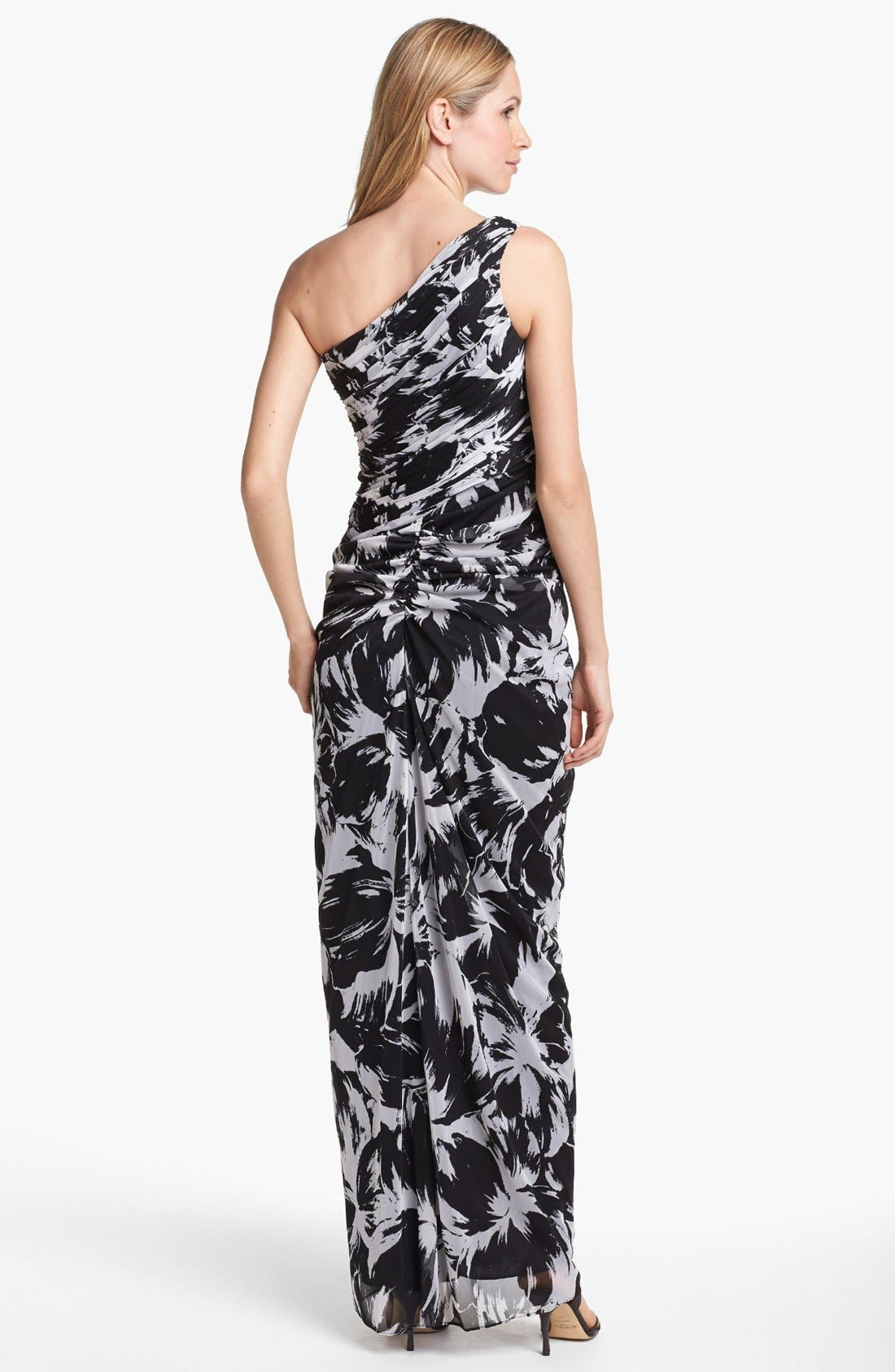 Alternate Image 2  - Adrianna Papell One Shoulder Print Chiffon Gown (Petite)